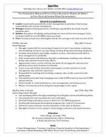 resume sle sle to write a resume for store manager