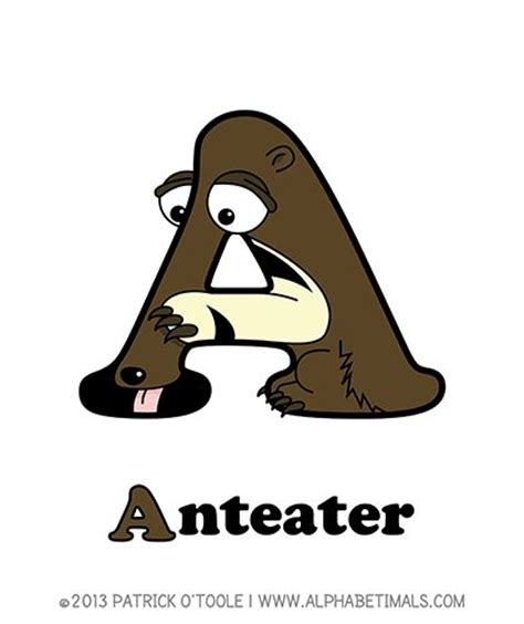 Dictionary Letter X anteater alphabetimals make learning the abc s easier