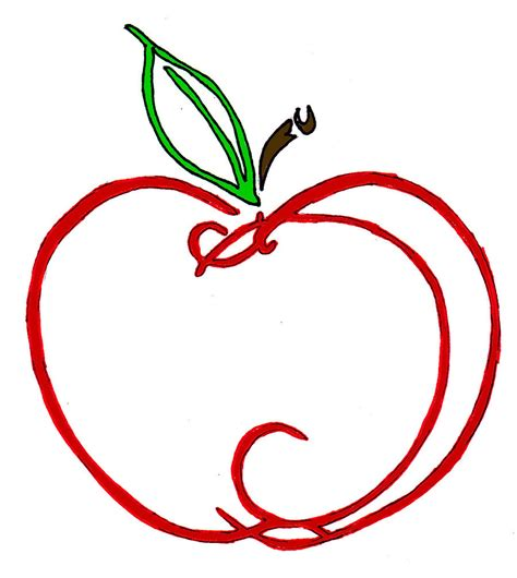 red apple outline clipart best
