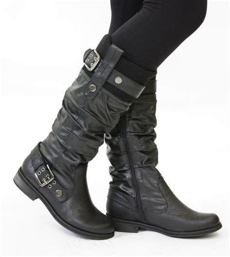 biker style boots ladies flat winter biker style low heel wide calf high leg