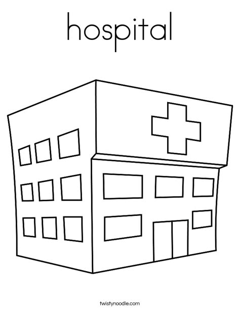 Hospital Coloring Page Twisty Noodle Building Coloring Pages