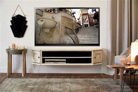 shabby chic tv console wall mounted floating tv stands tagged quot wall mountable