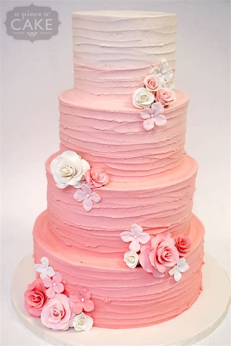 wedding cake of the day pink ombr flower wedding cake buttercream gallery a piece o cake