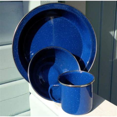 plate bowl mug blue enamel mug bowl and plate cing set
