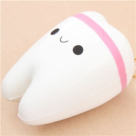 Tooth Squishy white tooth with pink stripe squishy kawaii