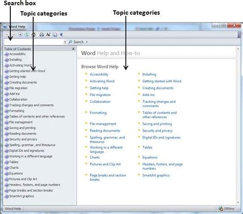 tutorialspoint word context help in word 2010