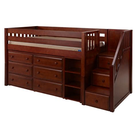 Beds And Dressers by Great Low Loft Bed With Dressers Bookcase And Staircase