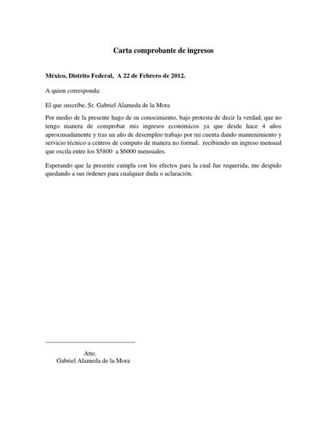 modelo carta de ingresos carta comprobante de ingresos docx