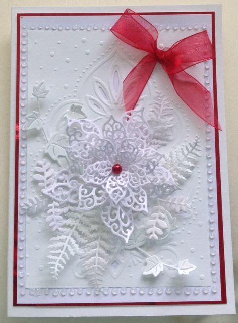 christmas card   sue wilsons poinsettia die beautiful die wwwd traditional