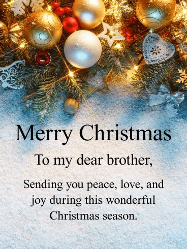 send  upscale merry christmas card   dear brother  holiday season   surely