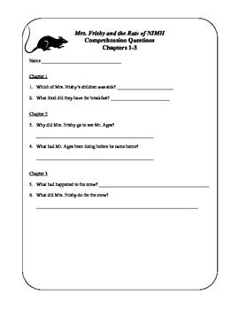 Teacher's Resource Packet for Mrs. Frisby and the Rats of