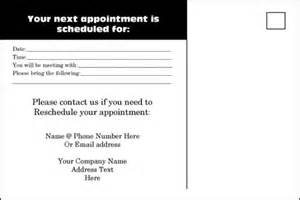 appointment reminder template 9 best images of reminder card templates printable