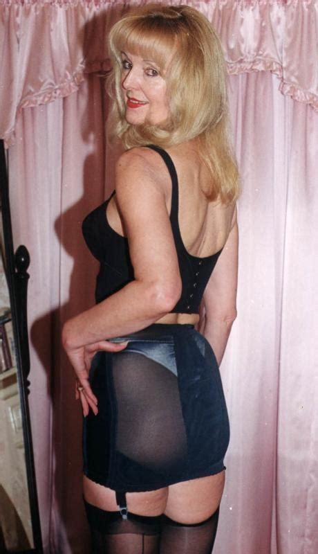 open bottom girdles stockings and garters lovely older woman in black open bottom girdle with