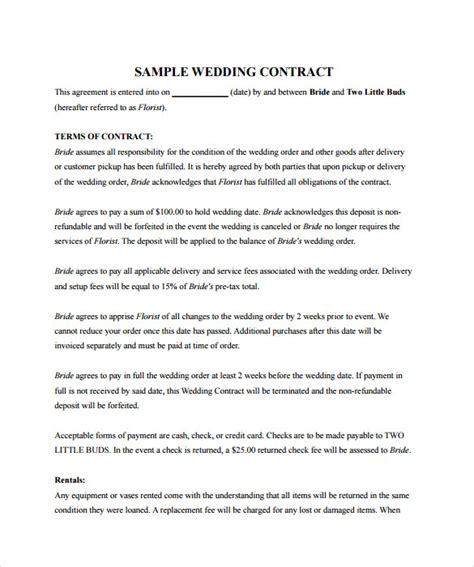 wedding contract templates sle wedding contract 14 documents in pdf word