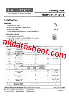 1n914 diode datasheet pdf 1n914 datasheet pdf taitron components incorporated