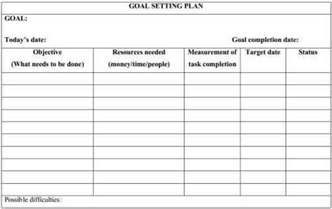 goal setting template smart goal template pdf images
