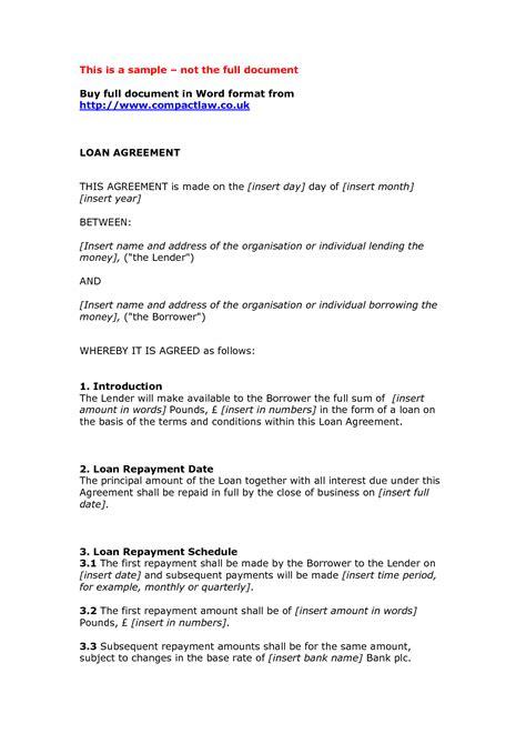 loan agreement template free free printable