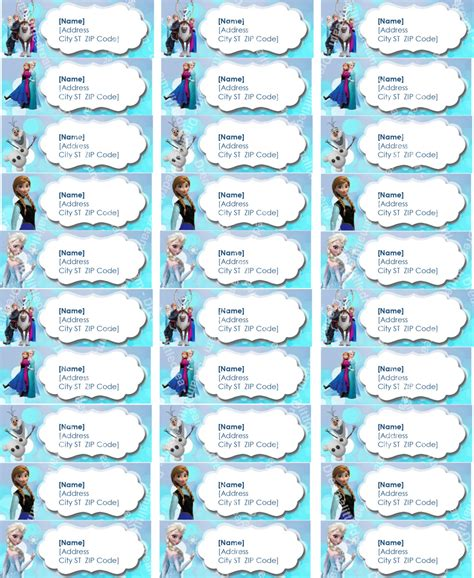 frozen printable etsy disney frozen printable address label by dreamalittlecraft