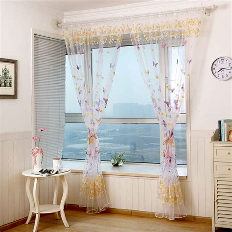 Sheer Butterfly Curtains Floral Butterfly Sheer Curtains Sheers Voile Tulle Window Curtain Ebay