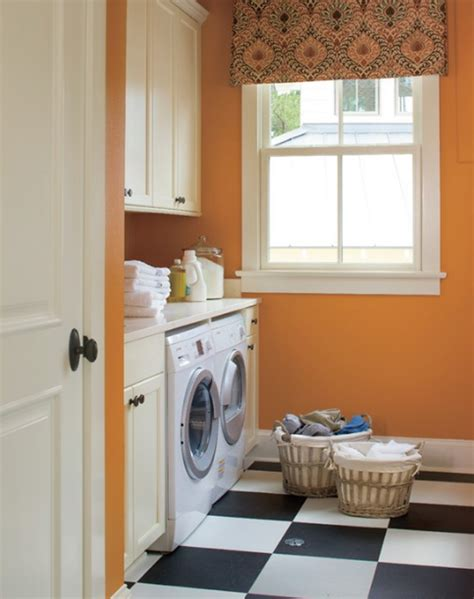 Decorated Laundry Rooms Orange And Colored Laundry Room Decorating Ideas