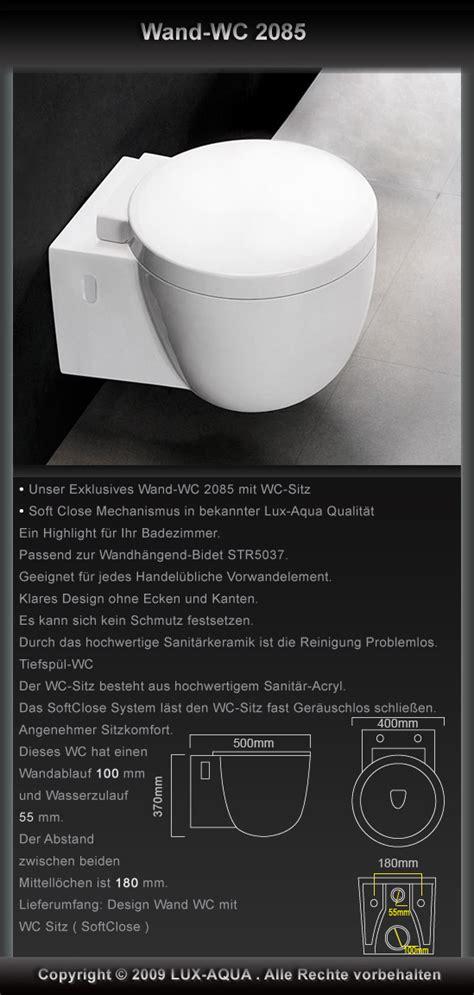 Wc Spiegel 114 by Www Aqua De Wand H 228 Nge Wc Toilette Inkl Wc Sitz