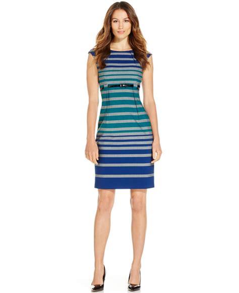 Belted Stripe Dress Size L calvin klein belted stripe sheath dress lyst