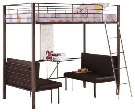 twin size metal bunk loft bed  adjustable seat desk