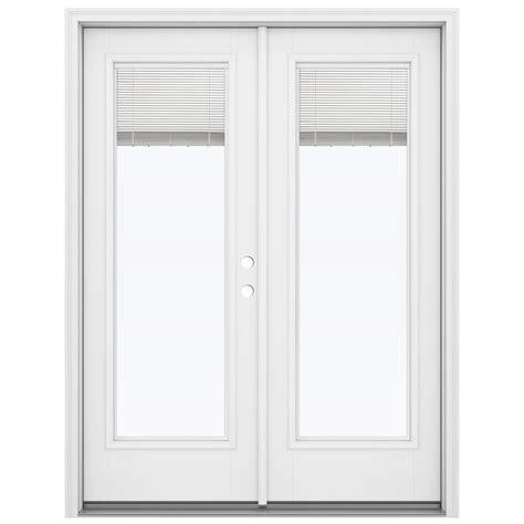 Outswing Patio Doors Shop Reliabilt 59 5 In Blinds Between The Glass Primed