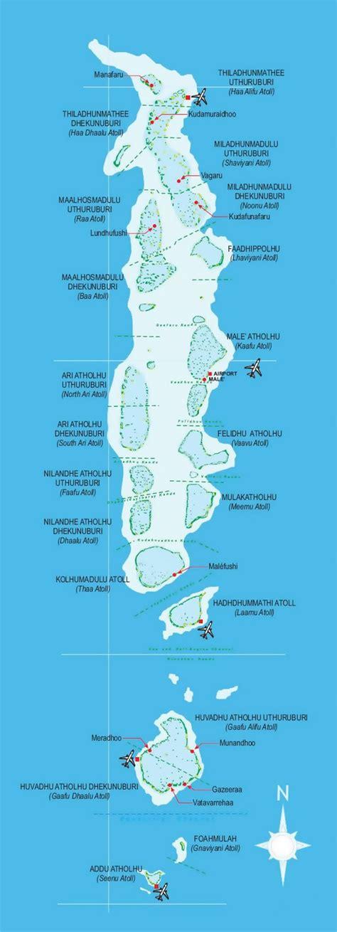 detailed map  maldives  airports maldives asia