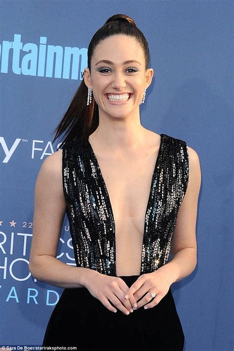 emmy rossum smile emmy rossum bares cleavage in sparkling sequined dress at
