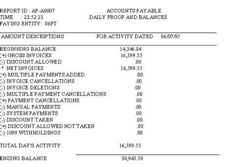 ap a0007 the accounts payable daily proof and balances report exle