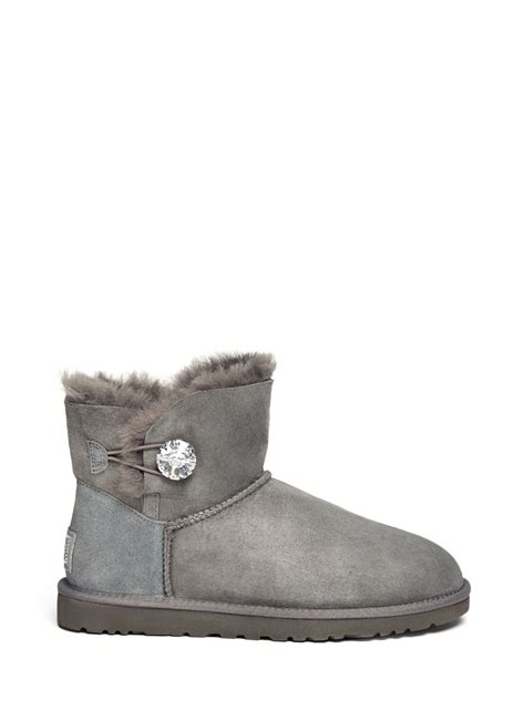 ugg mini bailey button bling boots in gray grey lyst