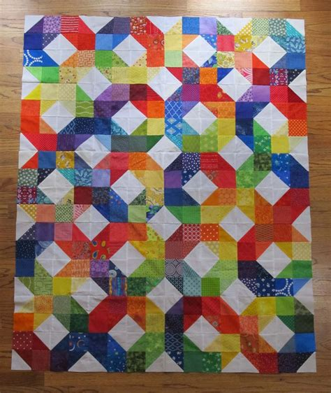 Rainbow Patchwork - rainbow patchwork wheel quilt top from my patchwork wheel