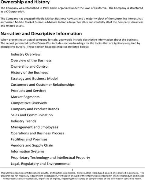 confidential information memorandum template sle confidential information memorandum