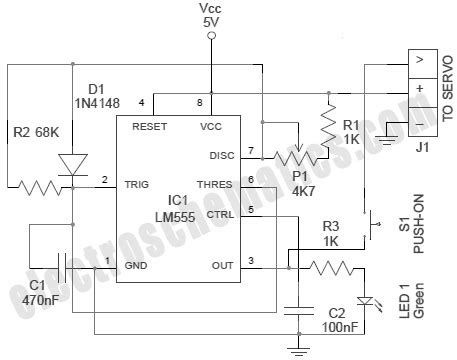 rc servo motor circuit 555 rc servo tester circuit