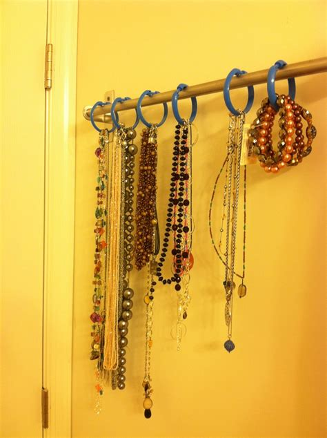dollar tree shower curtain necklace organization rod from ikea and dollar tree