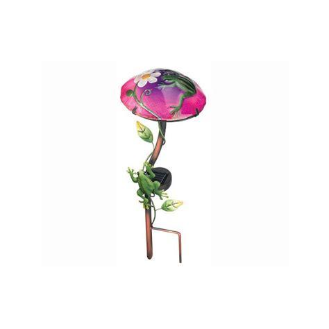 Solar Light Mushroom Stake - solar light frog mushroom garden stake