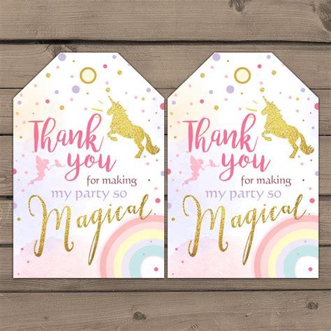 printable unicorn thank you tags unicorn favor tags unicorn birthday thank you tags label tags