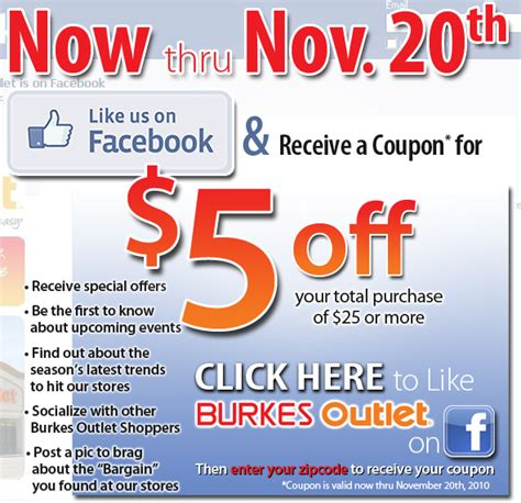 Printable Burkes Outlet Coupons | burkes outlet 5 off 25 printable coupon via facebook