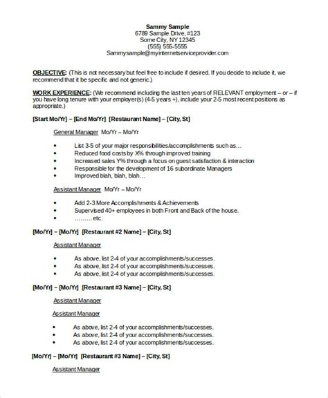 Restaurant Management Resume by Restaurant Resume 10 Free Word Pdf Documents