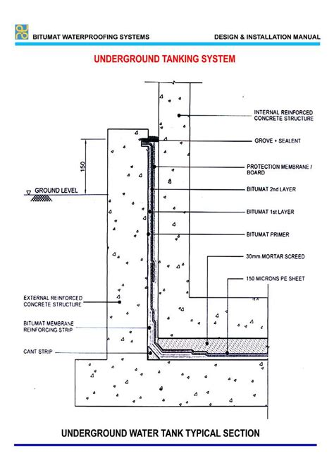 water tank section underground water tank typical section water pinterest