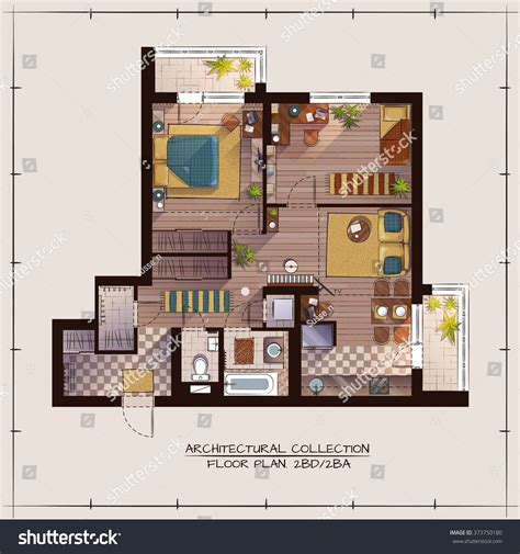 architectural color floor plan furniture top stock vector architectural color floor plan bedrooms apartment stock