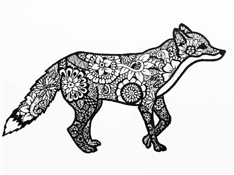 animal zendoodle coloring pages zentangle animals fox