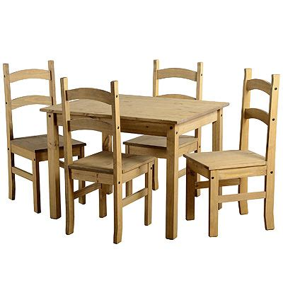 corona waxed pine wood mexican budget kitchen dining set table 4 chairs new ebay