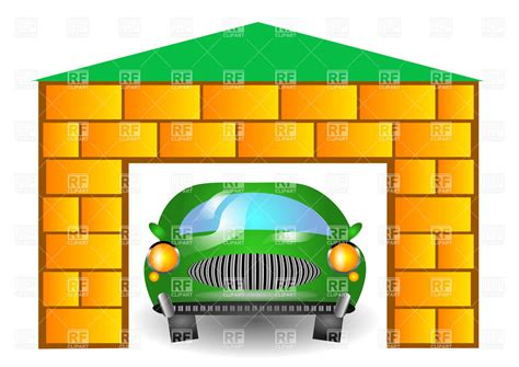 garage cartoon green cartoon retro car in garage royalty free vector clip