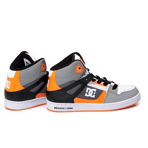 dc basketball shoes dc shoes youth rebound white grey high top trainers