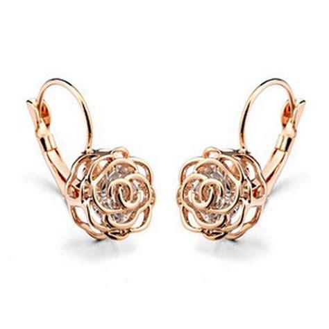 flower design ear studs top quality austria clear crystal uique design cz earrings