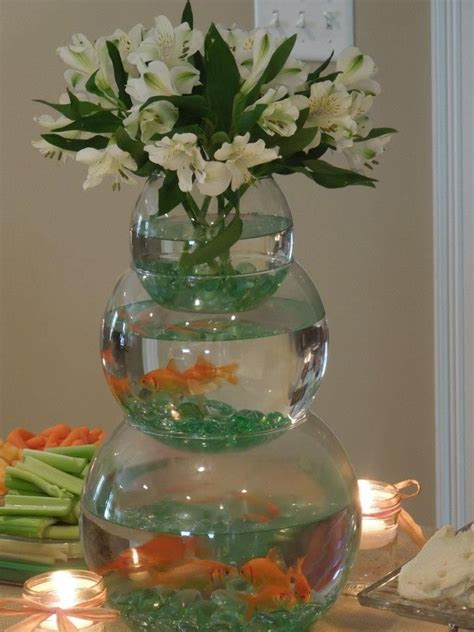 fish bowl baby shower centerpieces stacked fishbowl centerpiece for boy baby shower with fish