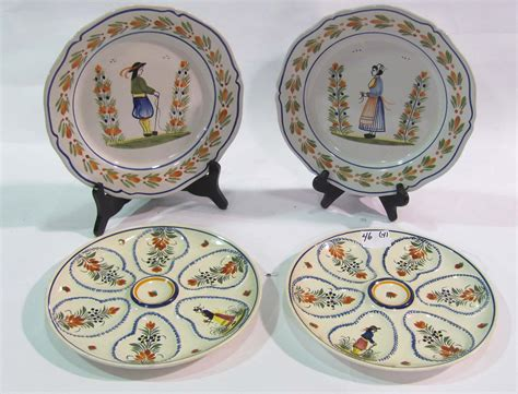 quimper gravy boat lot 46 quimper oyster and dinner plates