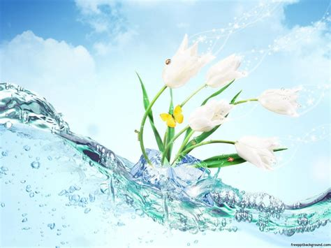 Wave And Flower wave water with flowers powerpoint free ppt backgrounds